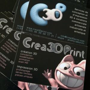 Photo des cartes de visite Crea3Dprint pour la création et l'impression 3D.